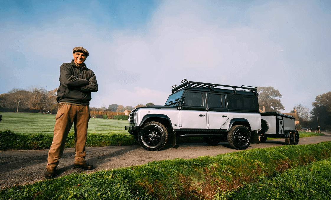 Vinnie Jones with Grey & Black Landrover