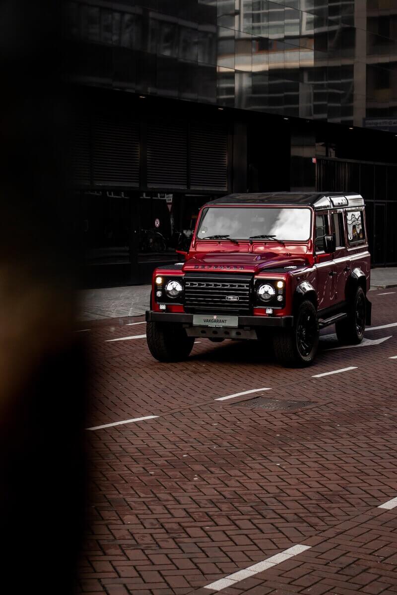 Land Rover Defender in Maroon